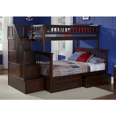 Buy Columbia Staircase Bunk Bed w/ Flat Panel Bed Drawers in Antique Walnut on sale online