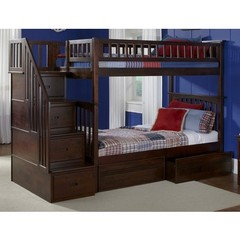 Buy Atlantic Furniture Columbia Staircase Bunk Bed w/ Flat Panel Bed Drawers in Antique Walnut on sale online