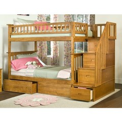 Buy Atlantic Furniture Columbia Staircase Bunk Bed w/ Flat Panel Bed Drawers in Caramel Latte on sale online