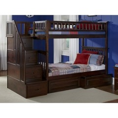 Buy Atlantic Furniture Columbia Staircase Bunk Bed w/ Raised Panel Bed Drawers in Antique Walnut on sale online