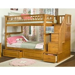 Buy Atlantic Furniture Columbia Staircase Bunk Bed w/ Raised Panel Bed Drawers in Caramel Latte on sale online