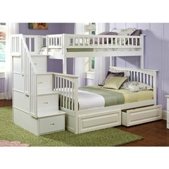 Buy Atlantic Furniture Columbia Staircase Bunk Bed w/ Raised Panel Bed Drawers in White on sale online