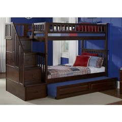 Buy Atlantic Furniture Columbia Staircase Bunk Bed w/ Trundle in Antique Walnut on sale online