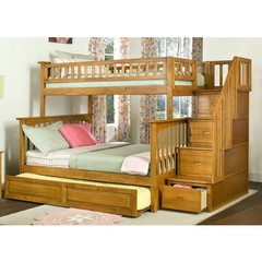 Buy Atlantic Furniture Columbia Staircase Bunk Bed w/ Trundle in Caramel Latte on sale online