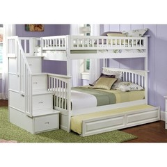 Buy Atlantic Furniture Columbia Staircase Bunk Bed w/ Trundle in White on sale online