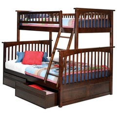 Buy Atlantic Furniture Columbia Twin/Full Bunk Bed w/ Flat Panel Drawers in Antique Walnut on sale online