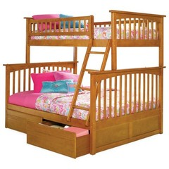 Buy Atlantic Furniture Columbia Twin/Full Bunk Bed w/ Flat Panel Drawers in Caramel Latte on sale online