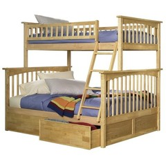 Buy Atlantic Furniture Columbia Twin/Full Bunk Bed w/ Flat Panel Drawers in Natural Maple on sale online
