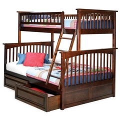 Buy Atlantic Furniture Columbia Twin/Full Bunk Bed w/ Raised Panel Drawers in Antique Walnut on sale online