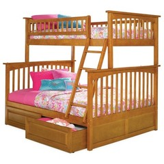 Buy Atlantic Furniture Columbia Twin/Full Bunk Bed w/ Raised Panel Drawers in Caramel Latte on sale online
