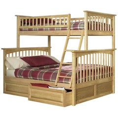 Buy Atlantic Furniture Columbia Twin/Full Bunk Bed w/ Raised Panel Drawers in Natural Maple on sale online