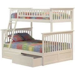 Buy Atlantic Furniture Columbia Twin/Full Bunk Bed w/ Raised Panel Drawers in White on sale online