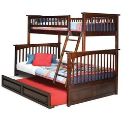 Buy Atlantic Furniture Columbia Twin/Full Bunk Bed w/ Trundle in Antique Walnut on sale online