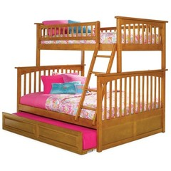 Buy Atlantic Furniture Columbia Twin/Full Bunk Bed w/ Trundle in Caramel Latte on sale online