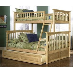 Buy Atlantic Furniture Columbia Twin/Full Bunk Bed w/ Trundle in Natural Maple on sale online