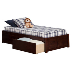 Buy Atlantic Furniture Concord Flat Panel Footboard Platform Bed w/ 2 Drawers in Antique Walnut on sale online