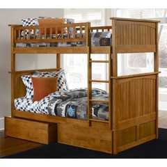 Buy Atlantic Furniture Nantucket Bunk Bed w/ Flat Panel Drawers in Caramel Latte on sale online