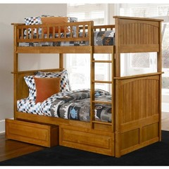 Buy Atlantic Furniture Nantucket Bunk Bed w/ Raised Panel Drawers in Caramel Latte on sale online