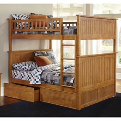 Buy Atlantic Furniture Nantucket Full/Full Bunk Bed w/ Flat Panel Drawers in Caramel Latte on sale online