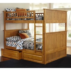 Buy Atlantic Furniture Nantucket Full/Full Bunk Bed w/ Raised Panel Drawers in Caramel Latte on sale online