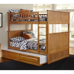 Buy Atlantic Furniture Nantucket Full/Full Bunk Bed w/ Trundle in Caramel Latte on sale online