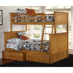 Buy Atlantic Furniture Nantucket Twin/Full Bunk Bed w/ Flat Panel Drawers in Caramel Latte on sale online