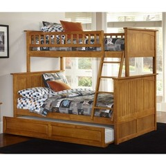 Buy Atlantic Furniture Nantucket Twin/Full Bunk Bed w/ Trundle in Caramel Latte on sale online