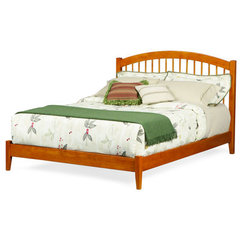 Buy Atlantic Furniture Windsor Platform Bed w/ Open Footrail in Caramel Latte on sale online