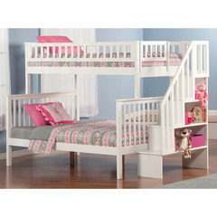 Buy Atlantic Furniture Woodland Staircase Bunk Bed Twin/Full in White on sale online