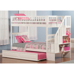 Buy Atlantic Furniture Woodland Staircase Bunk Bed Twin/Twin w/ Raised Panel Trundle Bed in White on sale online