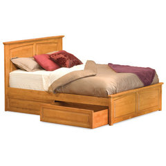 Buy Atlantic Furniture Monterey Bed w/ Raised Panel Footboard in Caramel Latte on sale online