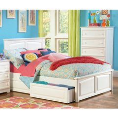 Buy Atlantic Furniture Monterey Bed w/ Raised Panel Footboard in White on sale online