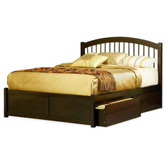 Buy Atlantic Furniture Windsor Bed w/ Flat Panel Footboard in Antique Walnut on sale online
