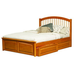 Buy Atlantic Furniture Windsor Bed w/ Raised Panel Footboard in Caramel Latte on sale online