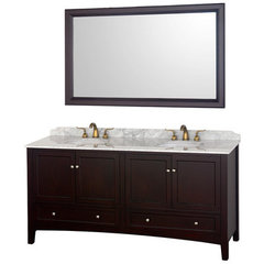 Buy Wyndham Collection Audrey 72.25 Inch White Carrera Marble Top Double Sink Vanity Set on sale online