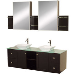 Buy Avara 60 Inch Green Glass Top Double Sink Vanity Set on sale online