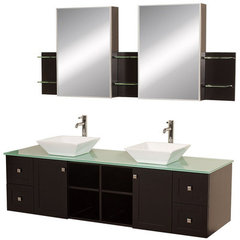 Buy Wyndham Collection Avara 72 Inch Green Glass Top Double Sink Vanity Set on sale online