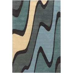 Buy Chandra Rugs Bense Garza Hand-Tufted Contemporary Blue Rug - BEN3006 on sale online