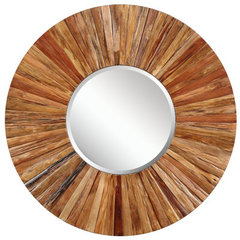 Buy Cooper Classics Berkley 34 Inch Round Mirror in Light Natural Rustic Wood on sale online
