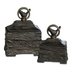 Buy Uttermost Birdie Boxes w/ Removable Lids (Set of 2) on sale online