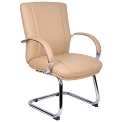 Buy Boss Office Products Aaria Elektra Guest Chair in Chrome Finish & Tan Upholstery on sale online