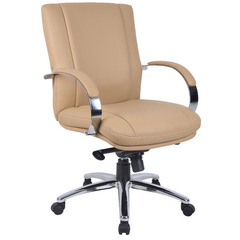 Buy Boss Office Products Aaria Elektra Mid Back Executive Chair in Chrome Finish & Tan Upholstery on sale online