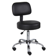 Buy Boss Office Products Black Caressoft Medical Stool w/ Back Cushion on sale online