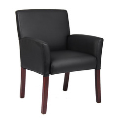 Buy Boss Office Products Box Arm Guest Chair w/Mahogany Finish  on sale online