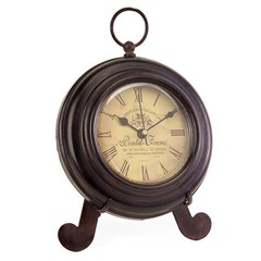 Buy IMAX Worldwide Brown Iron Desk Clock on sale online