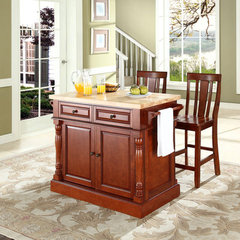 Buy Crosley Furniture 48x23 Butcher Block Top Kitchen Island in Cherry w/ 24 Inch Cherry Shield Back Stools on sale online