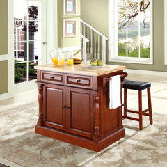 Buy Crosley Furniture 48x23 Butcher Block Top Kitchen Island in Cherry w/ 24 Inch Cherry Upholstered Saddle Stools on sale online