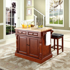 Buy Crosley Furniture 48x23 Butcher Block Top Kitchen Island in Cherry w/ 24 Inch Cherry Upholstered Square Seat Stools on sale online