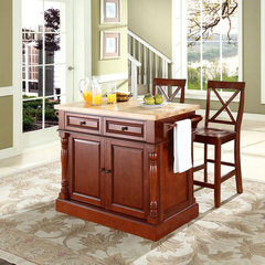 Buy Crosley Furniture 48x23 Butcher Block Top Kitchen Island in Cherry w/ 24 Inch Cherry X-Back Stools on sale online