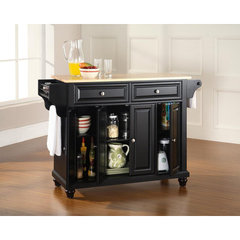 Buy Crosley Furniture Cambridge Natural Wood Top Kitchen Island in Black on sale online